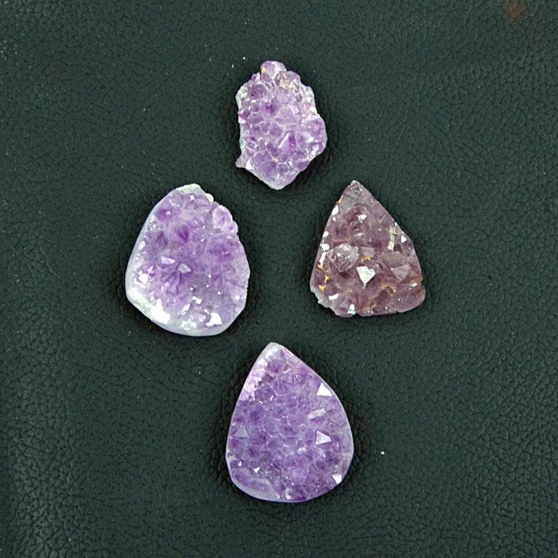 Amethyst Druzy gemstone Fancy Shape Druzy Drilled Gemstone 19X25-26X33 MM Fine Amethyst Loose Gemstone for jewelry 4 Pieces