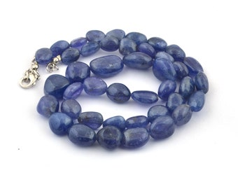 Natural Tanzanite Beads  Drilled Tanzanite beads Necklace  925 Sterling Silver Beads Necklace  Beads Size 10-16 MM