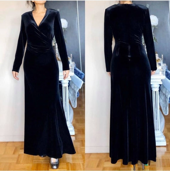 J Ribkoff Couture Black Velvet Evening Gown