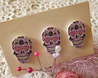 20 x Buttons Laser Cut Round wooden buttons with Sugar Calavera Skull engraving approx 22mm wide x 3mm thick