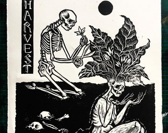 """ The Harvest Linocut Print """