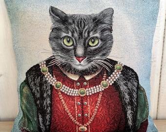 "Dressed cat ""Elegant Baron""- tapestry pillow cover 18'x18'- Valentine's gift- Gift for her- Cat lover gift- Dressed cat portrait"