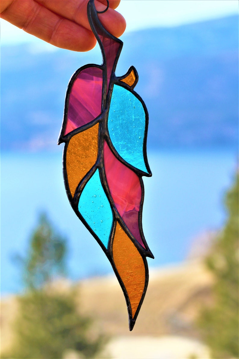 Native American Decor Stained Glass Feather Feather Suncatcher Window Hanging Mothers day gift