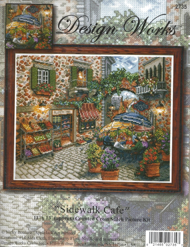 Sidewalk Caf\u00e9 Beautiful Pastoral Floral Scene of Town Street Designer Works #2735 Cross Stitch Picture Pattern Kit Entitled