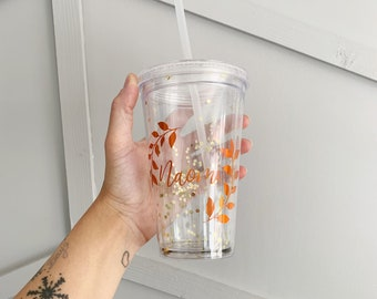 Reusable Autumn Cold Cup | Gold Leaf Cup | Cold Drinks Cup | Straw Travel Cup | Double Walled | Gift | Personalised Cup