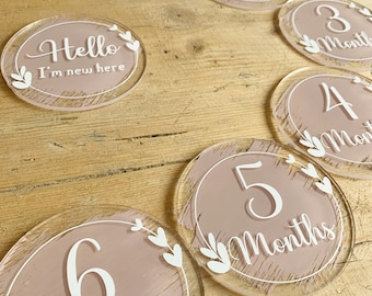 Baby Milestone Discs | Photo Props | Baby Gift | Milestone Cards | Acrylic Discs | New Baby Gift | 3 Colours Available