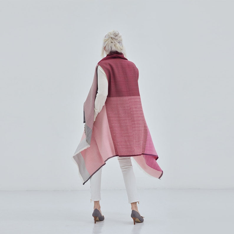 vest or hoodie wrap work travel maternity Ideal for layering Multifunctional soft wool poncho becomes a dress Daria Cape Ishikari