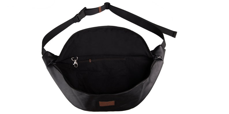 hips bag large-sized bumbag black leather imitation bumbag HEMATITE size L black bumbag big bumbag leather imitation bumbag