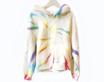 Tie Dye Hoodie in VANILLA RAINBOW // Adult + Kids Hooded Sweatshirt // Womens Girls Tie Dye // Matching Tie Dye Sweats