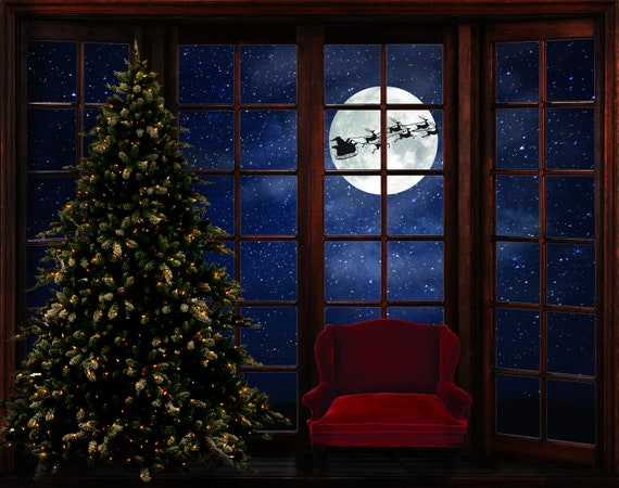 christmas digital background magical christmas window xmas etsy christmas digital background magical christmas window xmas digital background santa chair composite tree large window photoshop