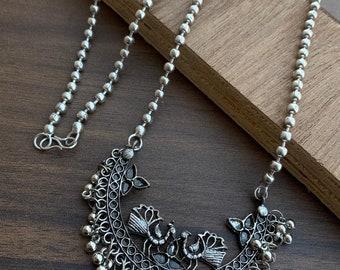 Pretty Lightweight Imitation Silver Oxidised Long Tribal Necklace German Silver Boho Necklace Afghani Oxidised Choker Set