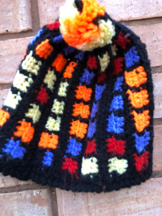 Vintage hand knit hat Beanie style hat Multi color