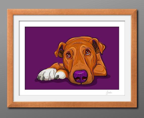 Waiting for Dinner Dog Print, Dog Art Print, Pet Portrait