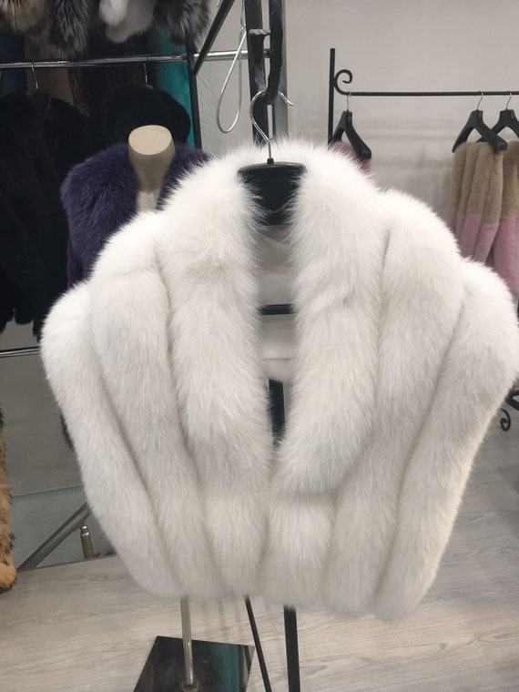 Fur Stole Real Fox Fur Shawl White by Etsy