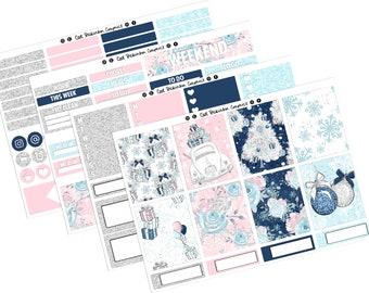 Christmas Dreams Weekly Vertical Planner Sticker Kit UK PP weeks holidays