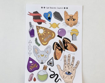 Witch stickers | magick stickers, planner stickers, palmistry, tarot reading, fortune telling, oracle deck, celestial print, moon phases