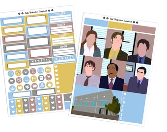 The Office inspired Mini Weekly Vertical Planner Sticker Kit UK US TV Show