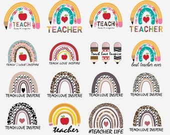 teacher rainbow png SVG, teacher png svg, rainbow png svg, teacher life png svg, teacher svg, teach love inspire rainbow svg png, teacher