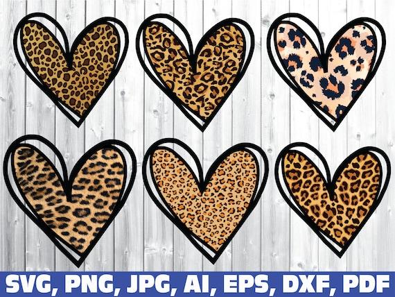 Leopard Print Heart SVG Svg Png Jpg Pdf Leopard Heart SVG Leopard Pattern Print Hearts Design Shirt SVG file Cricut