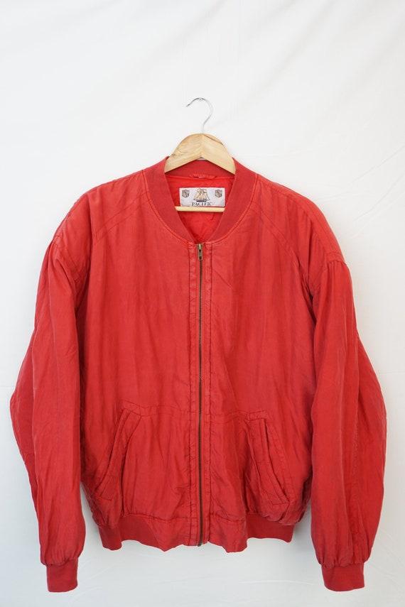 Vintage Oldschool 80s 90s Silk Seide Bomber Blouso