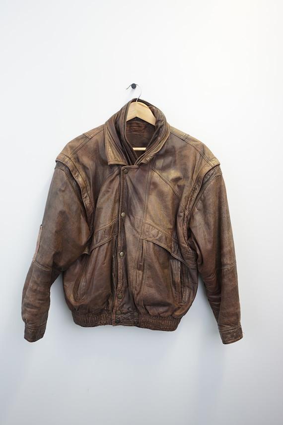 Vintage Oldschool 80s 90s Bomber Leder Leather Bom
