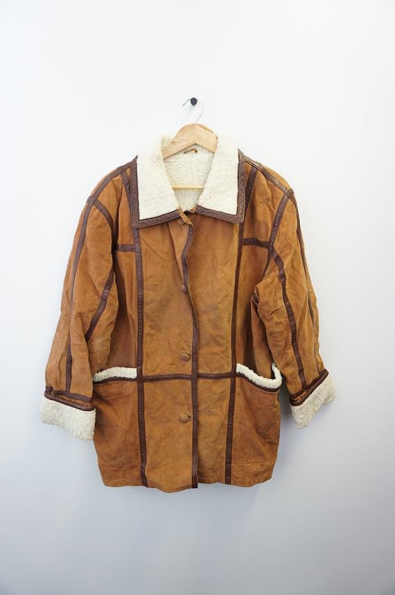 Vintage Oldschool 90s Suede  Winter Jacket  Mantel
