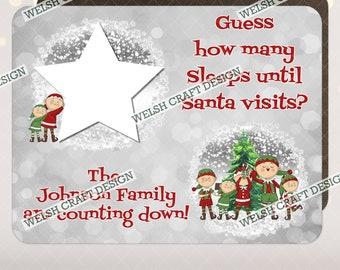 Personalised Sleeps Till Santa Countdown To Christmas Dry Wipe Reusable Sign