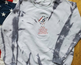 Whitney Houston Star Spangled Banner Embroidered Hand Dyed Sweatershirt