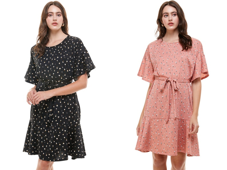InXeam Women Crew Neck Half Bell Sleeve Relaxed Fit Fabric Belt Midi Dress Made in USA