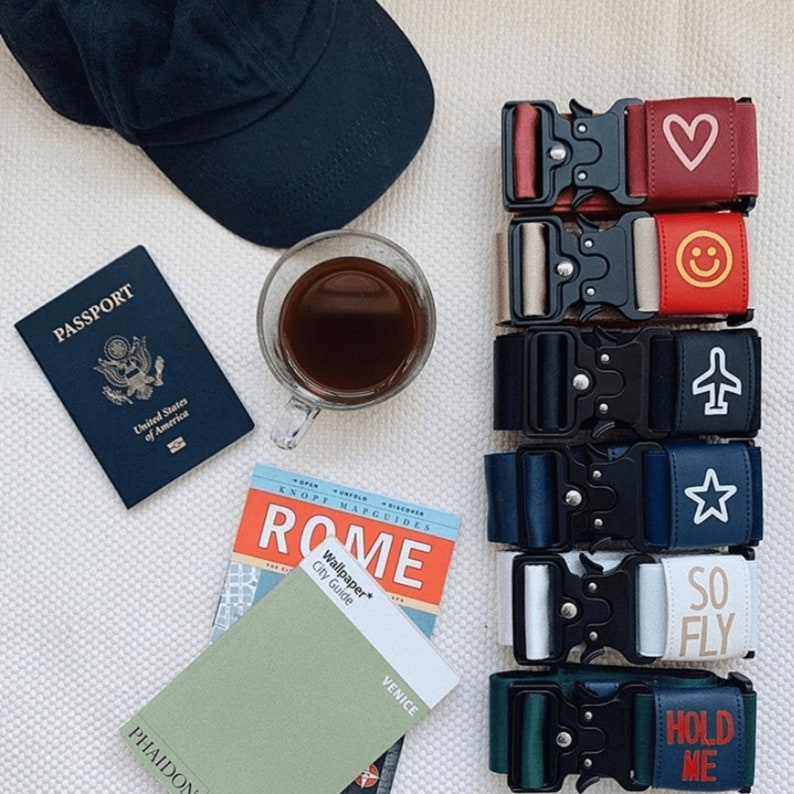 Heart Art Unique Travel Accessory Ruby Handpainted Luggage Strap for Bags and Purses Luggage Belt Personalized Gifts