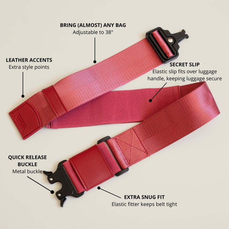 Monogrammed Gifts Unique Travel Accessory Ruby Personalized Luggage Strap for Bags and Purses Luggage Belt