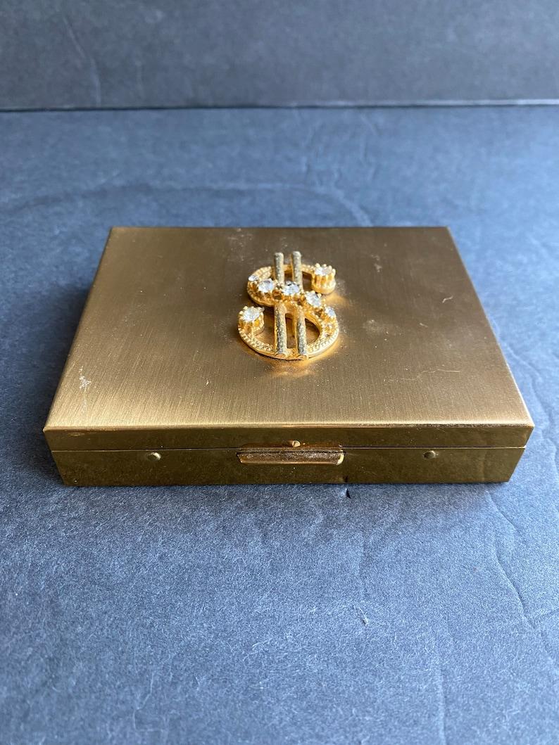 Vintage 1950s Petty Cash Metal Rhinestone Cache Kit By Menda