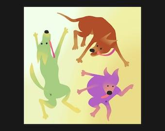 "13"" Print - Rissful Rignorance - Dogs dancing delightfully"