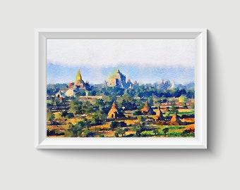 Dala woodcut print with watercolor Myanmar