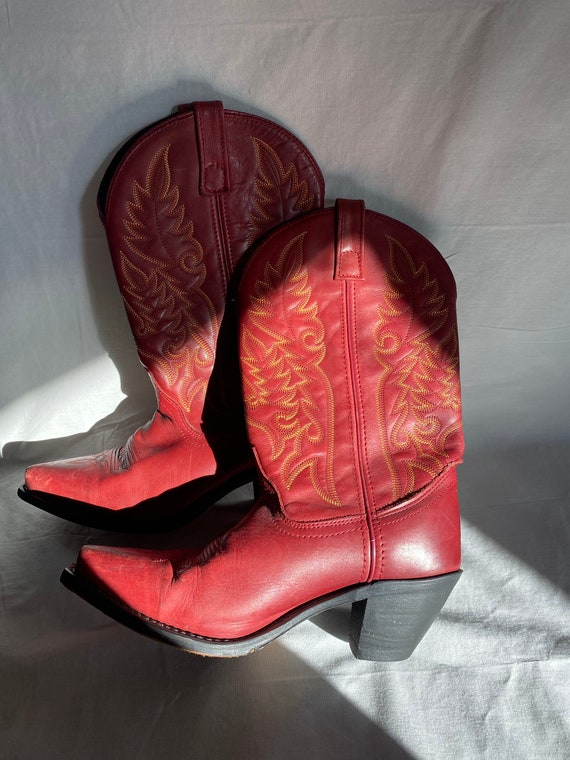 Laredo Red Cowboy Boots with Flame Detailing