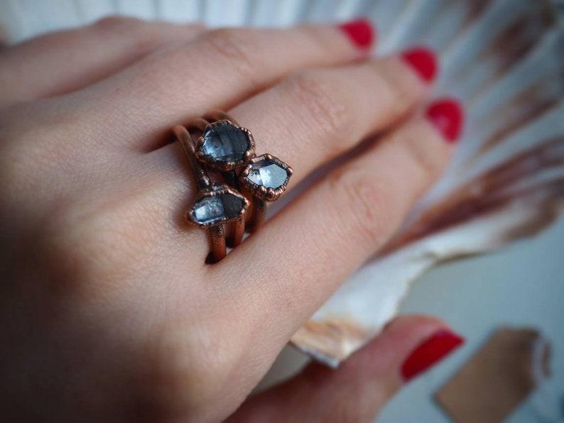 Quartz Jewellery Crystal Ring Gift for Her Copper Jewellery Gemstone Jewelry Crystal Jewelry Herkimer Diamond Ring Quartz