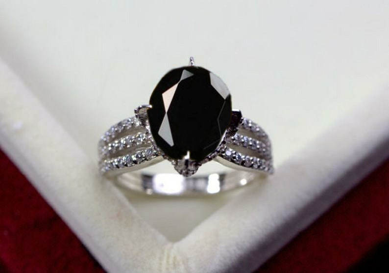 Natural Black Spinel Ring Anniversary Ring Oval Cut Gemstone Black Gemstone Ring 925 Sterling Silver Ring
