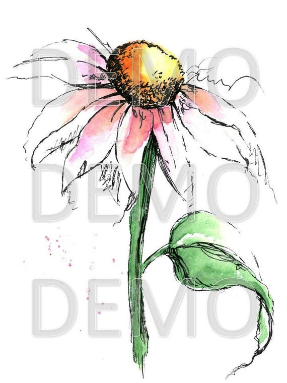 Pink shining flower, Botanical, Greenery Art, Watercolor, Digital Download, Wall Decor, original watercolor painting, Leaf, Flowers, Lighted