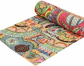 Indian Art Patch Work Cotton Kantha Quilt Queen Bedspreads Throw Blanket (Multi Floral) Bohemian Bedspread,Bedding, Handmade Quilt,bad throw
