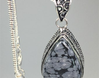 Snowflake Obsidian and Silver Pendant Including the Chain