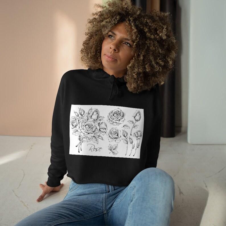Sketched Roses Cropped Hoodie