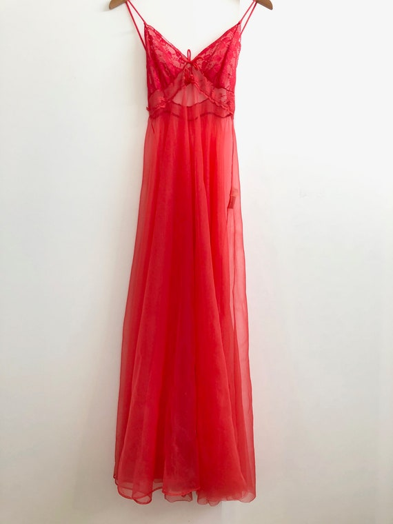 Vintage Sheer Red Nightie - image 2