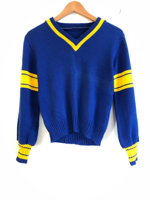 Vintage Collegiate V Neck Sweater