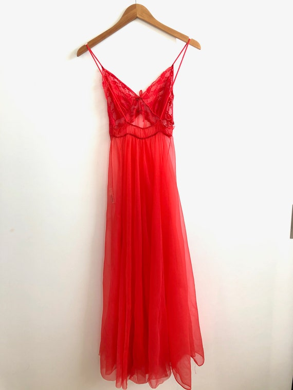 Vintage Sheer Red Nightie - image 5