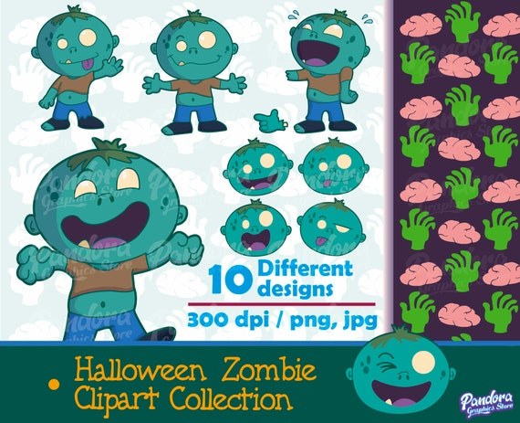 Halloween Zombie Zombie Clipart Halloween Clipart Digital Etsy