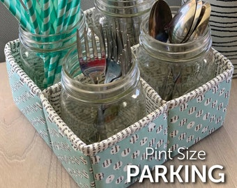 Pint-Size Parking Sewing Pattern - PAPER PATTERN - Perfect for picnics or parties - Mason Jar Nesting Trays