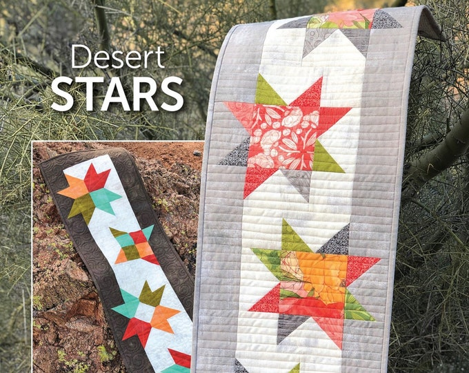 Desert Stars Table Runner - PAPER PATTERN - Simple quilting style tutorial for Charm Packs or Fat Eighths