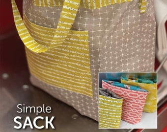 Simple Sack Sewing Pattern by Atkinson Designs - PAPER PATTERN - Go Green with these reusable tote bags!