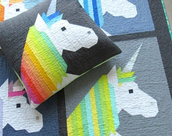 Lisa the Unicorn by Elizabeth Hartman - PAPER PATTERN - Quilt and Floor Pillow Pattern