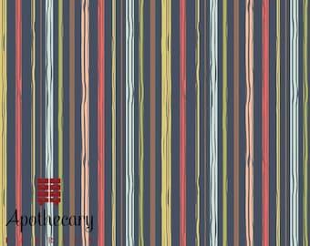 Riley Blake Woodland Spring Stripe Navy - DESIGNER FABRIC - Sold by the 1/2 Yard
